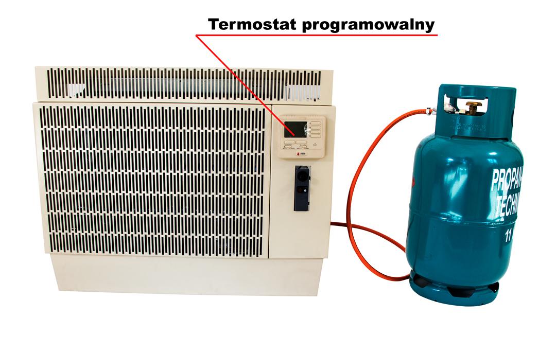 grzejnik gazowy naścienny z termostatem cyfrowym i wyrzutem spalin i poborem powietrza do spalania
