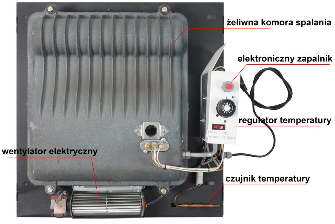 Grzejnik gazowy z odprowadzeniem spalin na zewnatrz